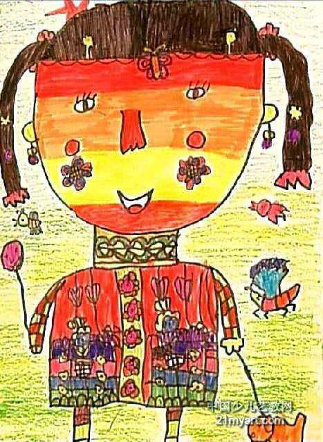 美丽的小姑娘儿童画作品欣赏