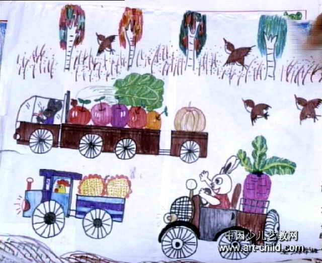 丰收的季节到了儿童画作品欣赏