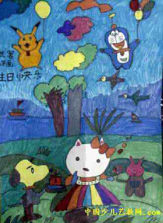 儿童油画棒简笔画_生日快乐儿童画2幅