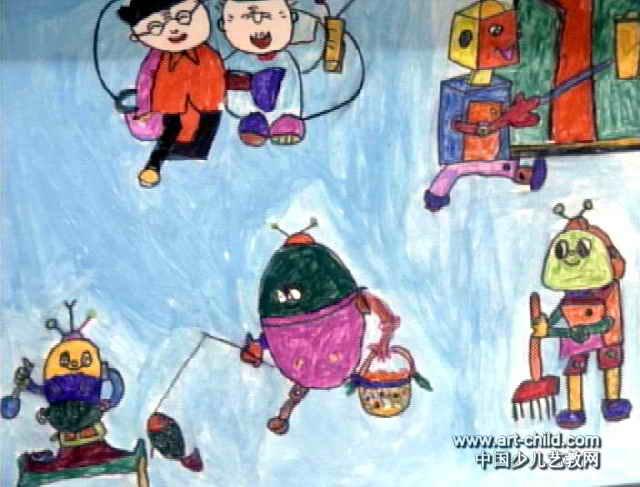 未来家庭保姆—机器人儿童画图片