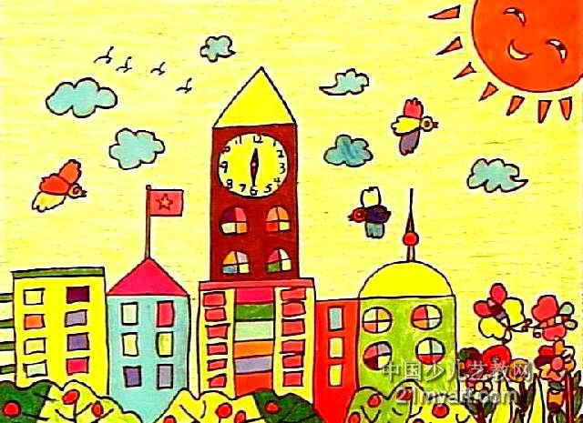 家乡的钟鼓楼儿童画作品欣赏