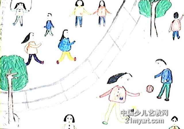 校园一角儿童画2幅