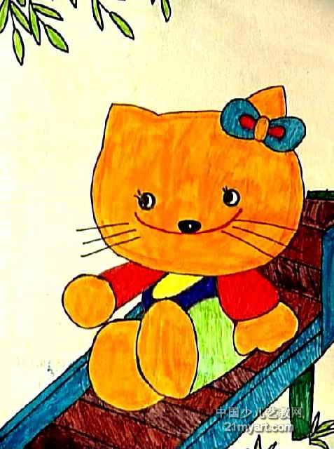 快乐的小猪儿童画属于水彩画,作品长640px,宽477px,作者钱靖,女,9岁