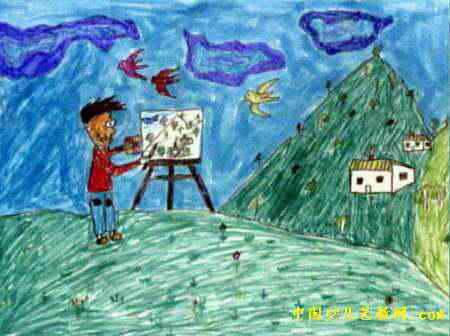 小画家儿童画4幅