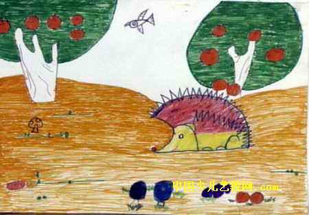 刺猬儿童水彩画