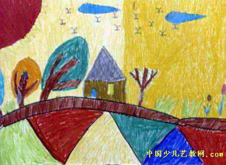 儿童油画棒简笔画_家乡的美景儿童画