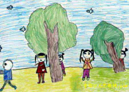 捉迷藏儿童画(三)3幅