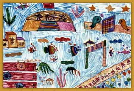 海底运动会儿童水彩画