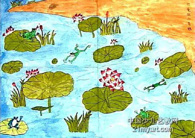 可爱的小青蛙儿童水彩画