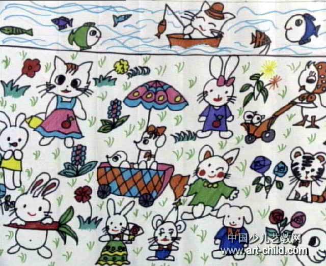 可爱的小动物儿童水彩画图片