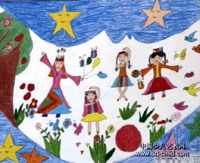 月亮上的小朋友儿童画图片