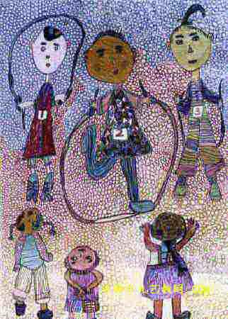 跳绳比赛儿童画2幅