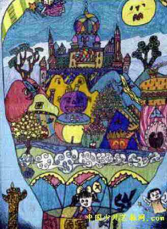 飞向蓝天的世界儿童画