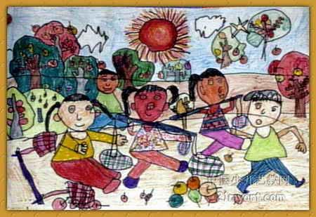 丰收的苹果儿童水彩画