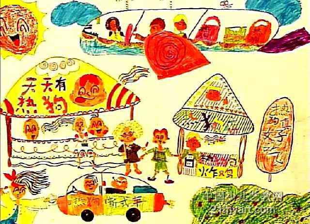 儿童画属于油画棒画,长463px,宽640px,作者林倩,女,9岁,就读海南省