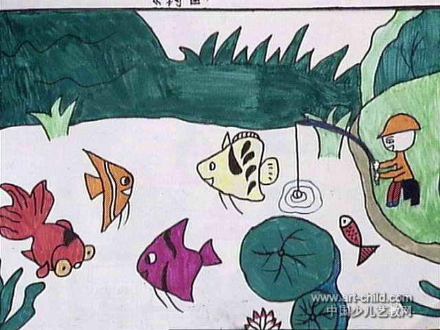 河边的风景儿童画