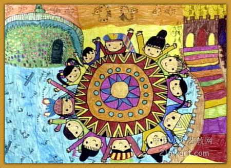 铜鼓乐儿童画