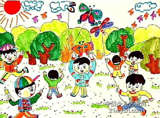 放风筝儿童画16幅