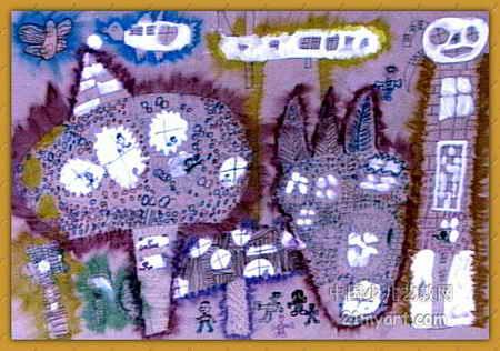 水果屋儿童水彩画