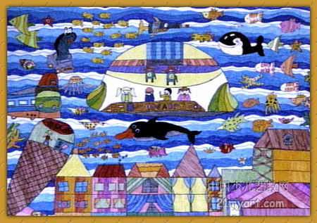海底城市漫游儿童画