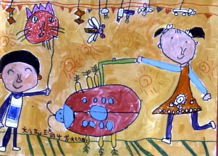 大大瓢虫灯儿童画作品欣赏