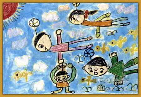 飞翔儿童画3幅