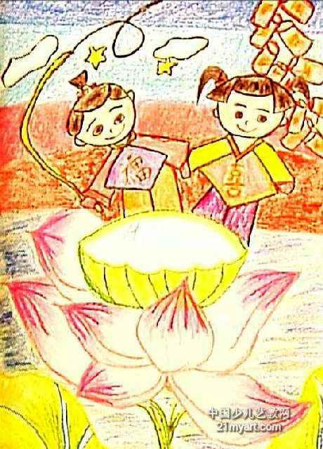 小学生水彩画荷花-荷开儿童画属于油画棒画,作品长640px,宽460px,作者麦洁欣,女