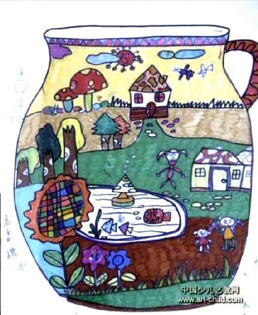 美丽的花瓶儿童画作品欣赏