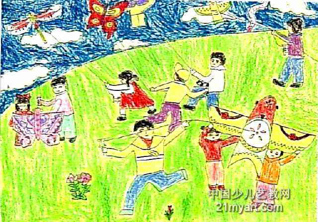 放风筝儿童画16幅(第5张)