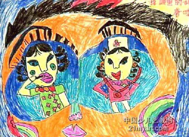 我眼中的妈妈儿童画2幅