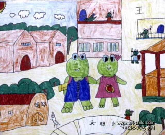 青蛙王国儿童画作品欣赏