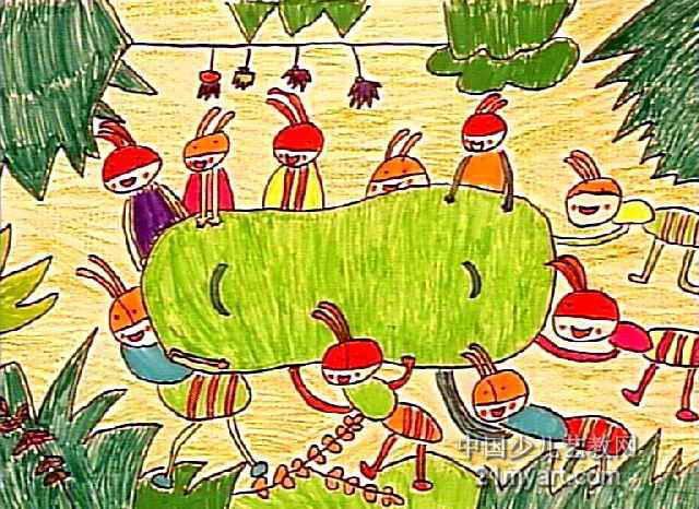 蚂蚁搬豆儿童画