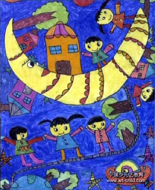我上月球啰儿童画图片