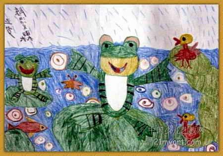 下雨啦儿童画2幅图片