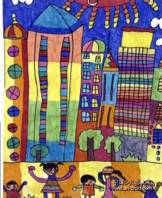 多彩的房子儿童画图片