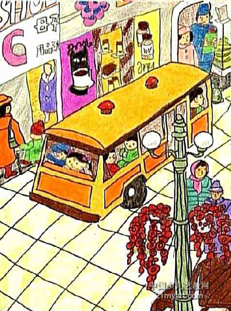 欢乐的大街儿童画作品欣赏