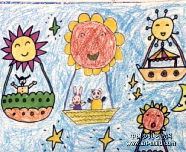 太阳船儿童水彩画,此幅装饰画尺寸为523x640像素图片