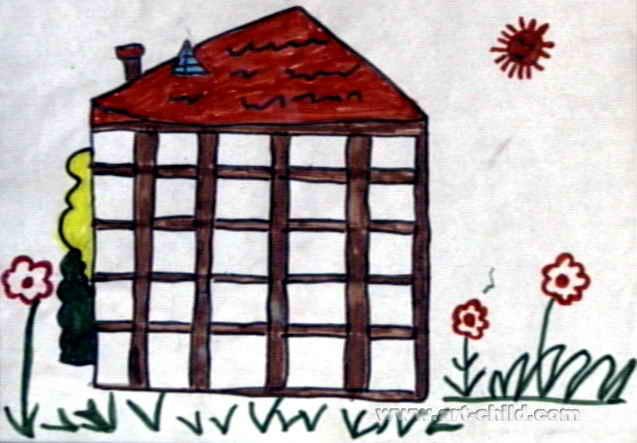 楼房儿童画,此幅水彩画大小为443x637像素