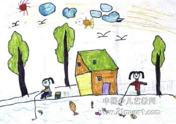 钓鱼儿童画4幅 第3张