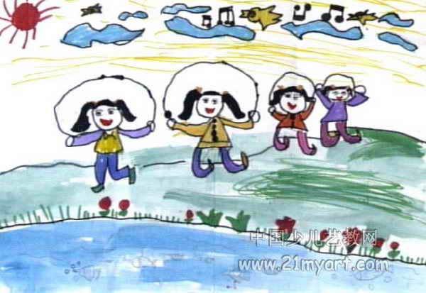 跑步儿童画 《雨中小镇》儿童画