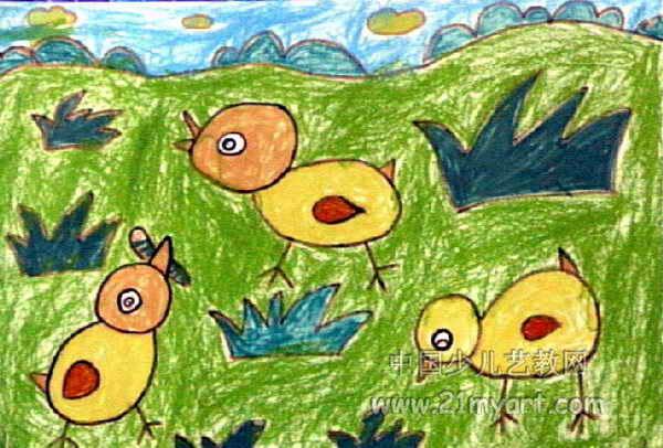 小鸡啄虫子儿童画