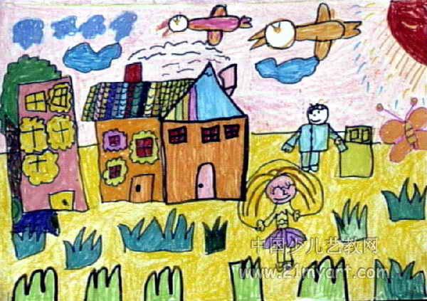 我的家儿童画 二 5幅