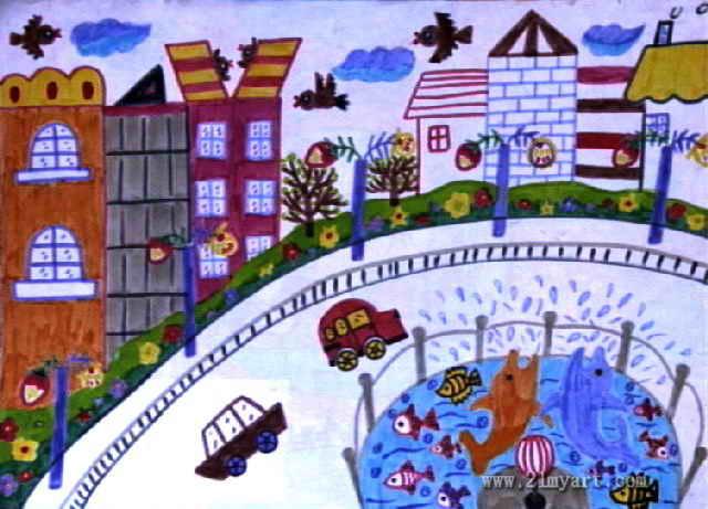 美丽的城市儿童画5幅图片