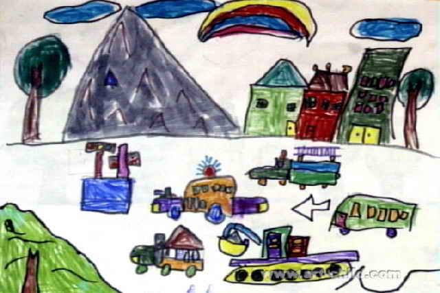 热闹的马路儿童水彩画
