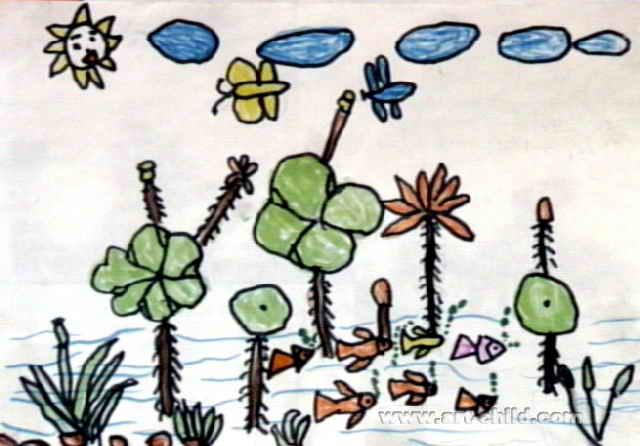 宁静的夏天儿童画图片