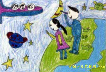 遨游太空儿童画7幅(第5张)图片