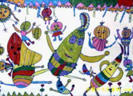 蔬菜的舞蹈儿童画