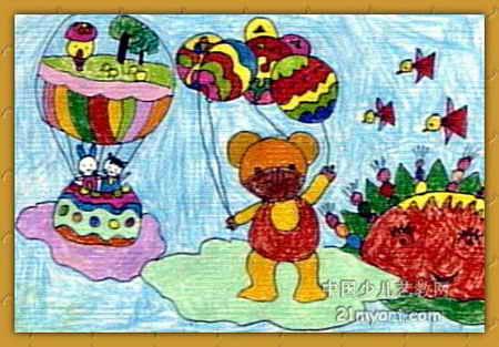 简笔画 儿童画 儿童水彩画 >> 小动物太空旅行儿童画   小动物太空
