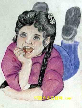 可爱的姑娘儿童画