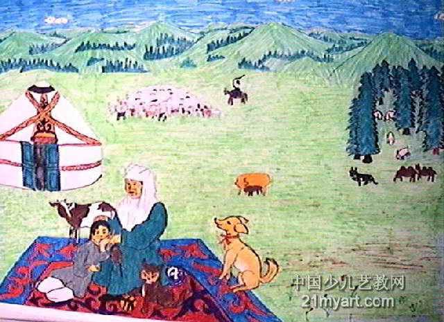 听取儿童传说儿童画作品欣赏